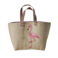 Flamingo Embroidered Shopping Basket Rice DK