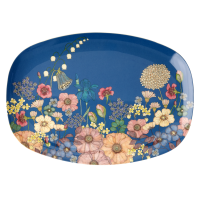 Flower Collage Print Rectangular Melamine Plate Rice DK