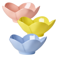 Flower Shaped Melamine Bowls in 3 Assorted Colours Rice DK