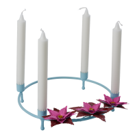 Mint & Poinsettia Metal Advent Candle Holder By Rice DK