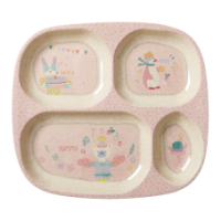 Girls Pink Cooking Print 4 Space Melamine & Bamboo Plate Rice DK