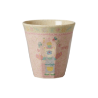 Girls Pink Cooking Print Melamine & Bamboo Cup By Rice DK