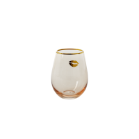Glass Tumbler in Soft Pink - Gold Detail By Rice DK