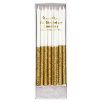 Gold Glitter Tall Birthday Candles By Meri Meri