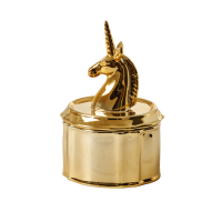 Gold Unicorn Porcelain Trinket Box by Rice DK
