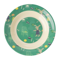 Green Bunny Rabbit Print Kids Melamine Bowl By Rice DK