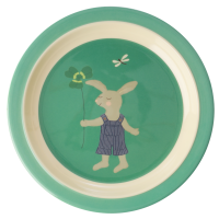 Green Bunny Rabbit Print Kids Melamine Plate By Rice DK