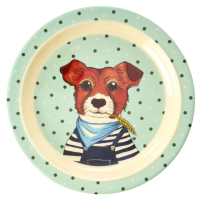 Pale Green Dog Print Melamine Kids Plate By Rice DK