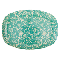 Fern and Flower Print Rectangular Melamine Plate Rice DK
