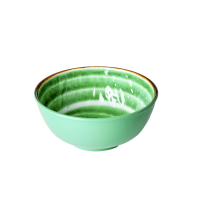 Green Melamine Bowl with Swirl Print Rice DK