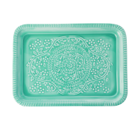 Green Enamel Embossed Detail Tray By Rice DK