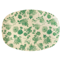 Green Rose Print Rectangular Melamine Plate Rice DK