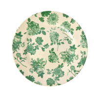 Green Rose Print Melamine Side Plate By Rice DK
