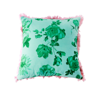 Green Rose Print Square Cushion Rice DK