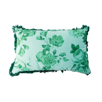 Green Rose Print Rectangular Cushion Rice DK