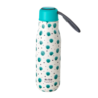 Green Watercolour Splash Print Stainless Steel Water Bottle By Rice DK