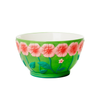 Ceramic Bowl with Embossed Green Flower Design Rice DK