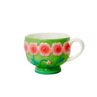 Ceramic Mug with Embossed Green Flower Design Rice DK