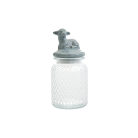 Glass Jar with Air Tight Grey Lamb Lid Rice DK