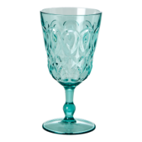Mint Blue Swirl Embossed Acrylic Wine Glass Rice DK