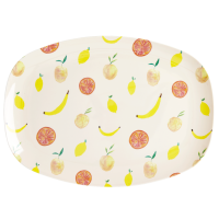 Happy Fruits Print Rectangular Melamine Plate By Rice DK