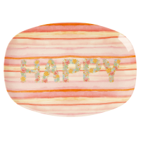 Happy Pink Print Rectangular Melamine Plate By Rice DK