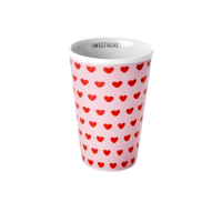 Porcelain Tall Cup with Sweet Heart Print By Rice DK