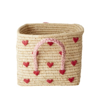 Embroidered Hearts Square Raffia Basket Raffia Handles Rice DK