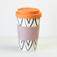 Outline Hearts Print Bamboo Coffee Cup By Caroline Gardner