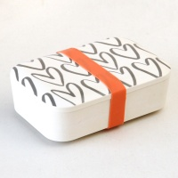 Outline Hearts Print Bamboo Lunch Box By Caroline Gardner