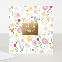 Hello Spring Greeting Card By Caroline Gardner