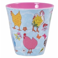 Melamine Cup - Two tone with hen print by Rice DK
