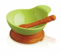 Lime Green & Orange Silicone Baby Bowl & Spoon Set CKS Zeal