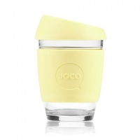Joco glass reusable coffee cup in Custard Yellow
