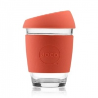 Joco glass reusable coffee cup in Persimmon