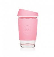 Joco glass reusable coffee cup in Strawberry Pink 16oz