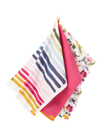 Floral & Stripe Print Set of 3 Tea Towels By Joules