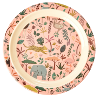 Jungle Animal Print Kids Melamine Plate Coral Background Rice DK