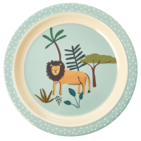 Jungle Animal Print Kids Melamine Plate Lion Blue Background Rice DK