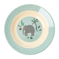 Jungle Animal Print Kids Melamine Bowl Elephant Blue Background Rice DK