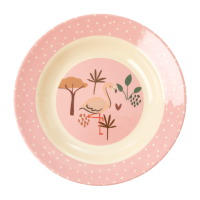 Jungle Animal Print Kids Melamine Bowl Flamingo Pink Background Rice DK