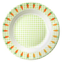 Kids melamine green check bowl with carrots by Rice DK