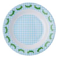 Kids Melamine Bowl Blue check with caterpillars round the rim, Rice DK