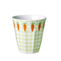 Kids melamine cup green check & carrots by Rice DK