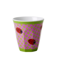 Kids Small Melamine Cup, Ladybugs, green flowers, pink background, Rice DK