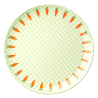 Kids melamine plate green check & carrot print  by Rice DK