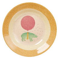 Kids Melamine & Bamboo Bowl Girl Colours & Animal Prints Rice DK