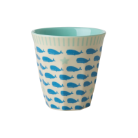 Kids Small Melamine Cup Blue Whale & Starfish Print Rice DK