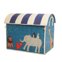 Large Animal Theme Raffia Toy Storage Basket Rice DK