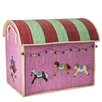 Large Carousel Raffia Toy Storage Basket Rice DK
